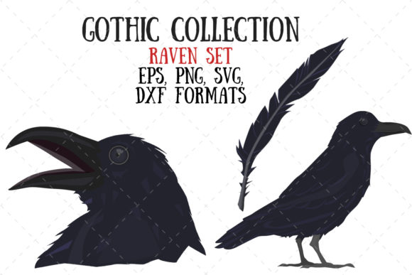 Raven Set 2 Graphic Illustrations By My Little Black Heart