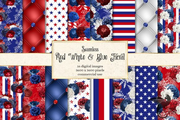Red White and Blue Floral Digital Paper Graphic Patterns By Digital Curio