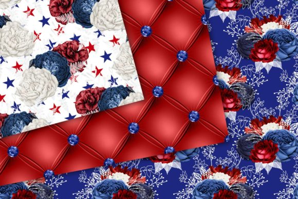 Download Free Red White And Blue Floral Digital Paper Graphic By Digital Curio for Cricut Explore, Silhouette and other cutting machines.