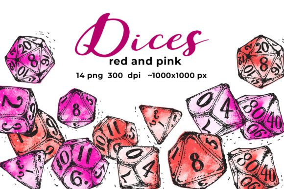 Red and Pink Dices Graphic Illustrations By ramandu