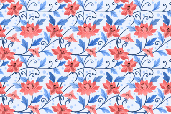 Download Free Blue Flowers Ornament Seamless Pattern Graphic By Ranger262 for Cricut Explore, Silhouette and other cutting machines.