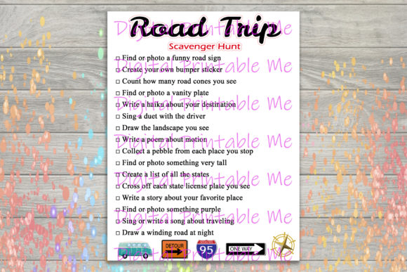 Download Free Road Trip Scavenger Hunt Party Game Kids Graphic By for Cricut Explore, Silhouette and other cutting machines.