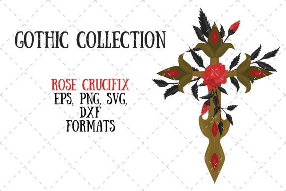 Rose Crucifix Graphic By My Little Black Heart Creative Fabrica