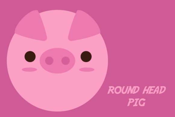 Round Head Pig Graphic Illustrations By sejasaja