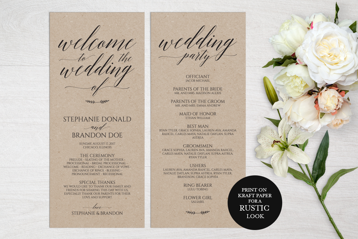Download Free Rustic Wedding Program Template Graphic By Weddingprintables for Cricut Explore, Silhouette and other cutting machines.
