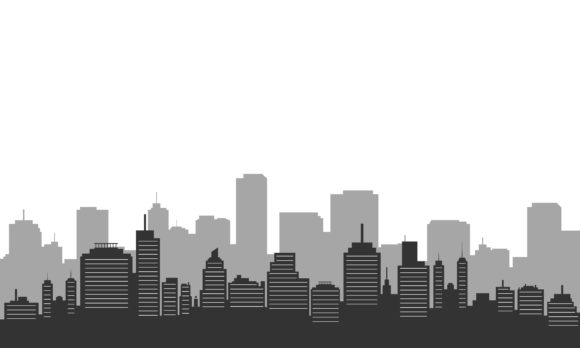 Download Free Silhouette City Building In The Morning Graphic By Cityvector91 for Cricut Explore, Silhouette and other cutting machines.