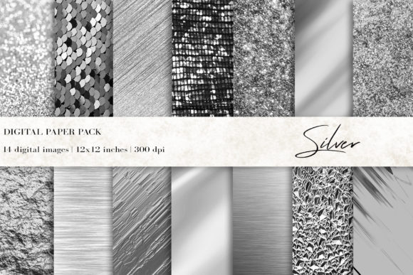 Silver Background, Silver Digital Papers Graphic Textures By BonaDesigns