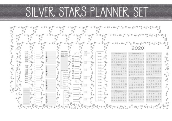 Print on Demand: Silver Stars Life Planner  (Letter Size) Graphic Print Templates By capeairforce