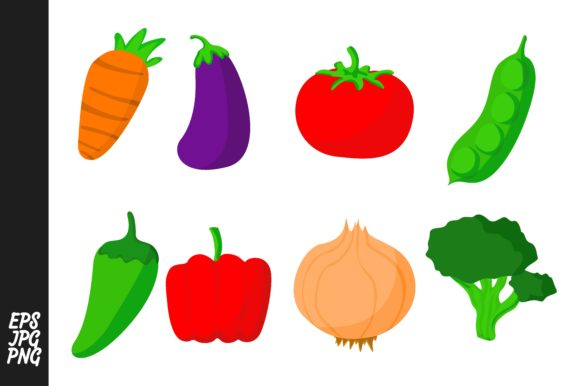 Download Free Simple Vegetable Vector Set Graphic By Arief Sapta Adjie for Cricut Explore, Silhouette and other cutting machines.