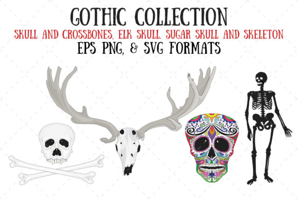 Download Free Skulls And Skeleton Graphic By My Little Black Heart Creative for Cricut Explore, Silhouette and other cutting machines.