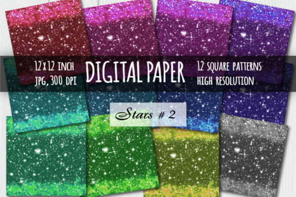 Print on Demand: Sparkling Digital Paper Graphic Textures By bunart