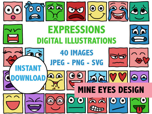 Print on Demand: Square Expressions Clipart Graphic Illustrations By Mine Eyes Design