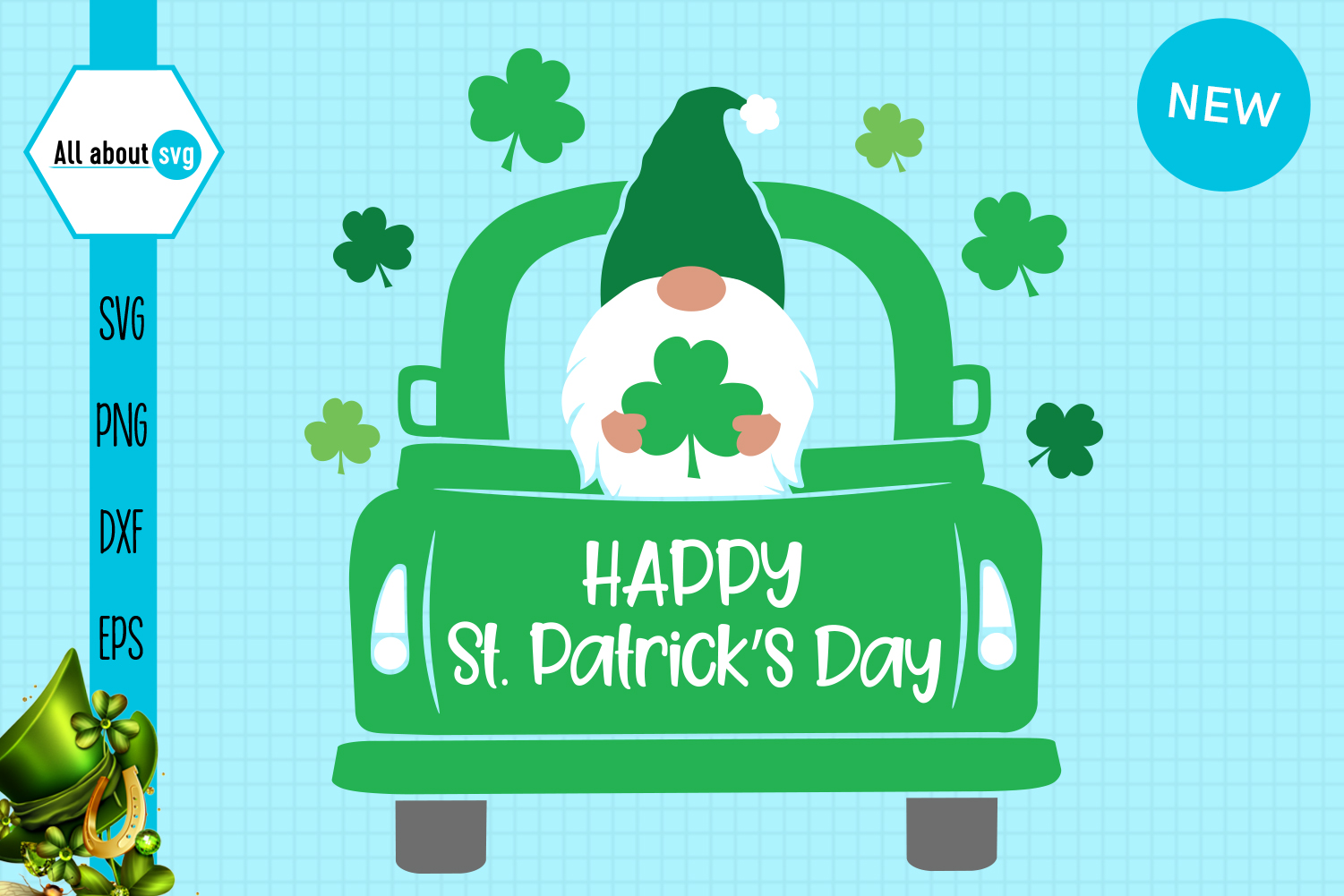 Download Free St Patrick S Gnome In Truck Graphic By All About Svg Creative for Cricut Explore, Silhouette and other cutting machines.