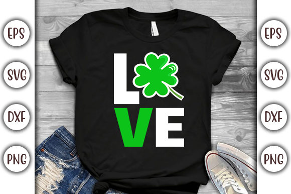 Print on Demand: St.Patrick's Day T-shirt Design- Love Graphic Print Templates By GraphicsBooth