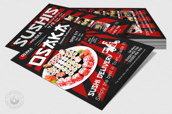 Download Free Sushi Delivery Flyer Template Graphic By Thatsdesignstore for Cricut Explore, Silhouette and other cutting machines.