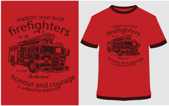 Print on Demand: T-shirt Design - Fire Fighters Truck Graphic Print Templates By ProDesigns