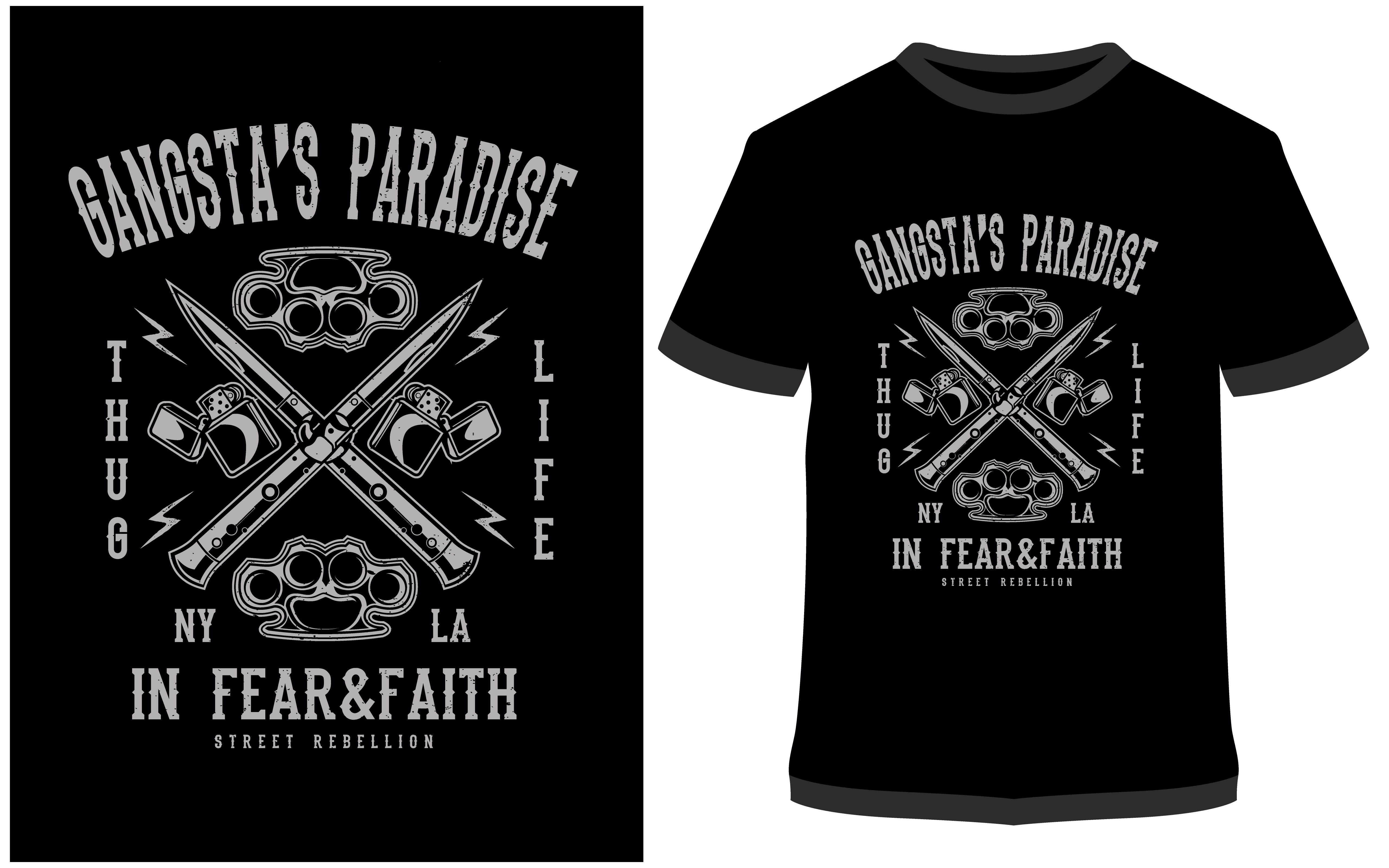 Download Free T Shirt Design Gangsta S Paradise Graphic By Prodesigns for Cricut Explore, Silhouette and other cutting machines.
