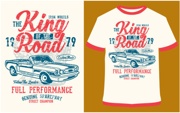 Download Free T Shirt Design King Of The Road Graphic By Prodesigns for Cricut Explore, Silhouette and other cutting machines.