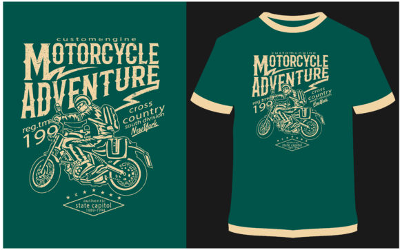 Print on Demand: T-shirt Design - Motorcycle Adventure Graphic Print Templates By ProDesigns