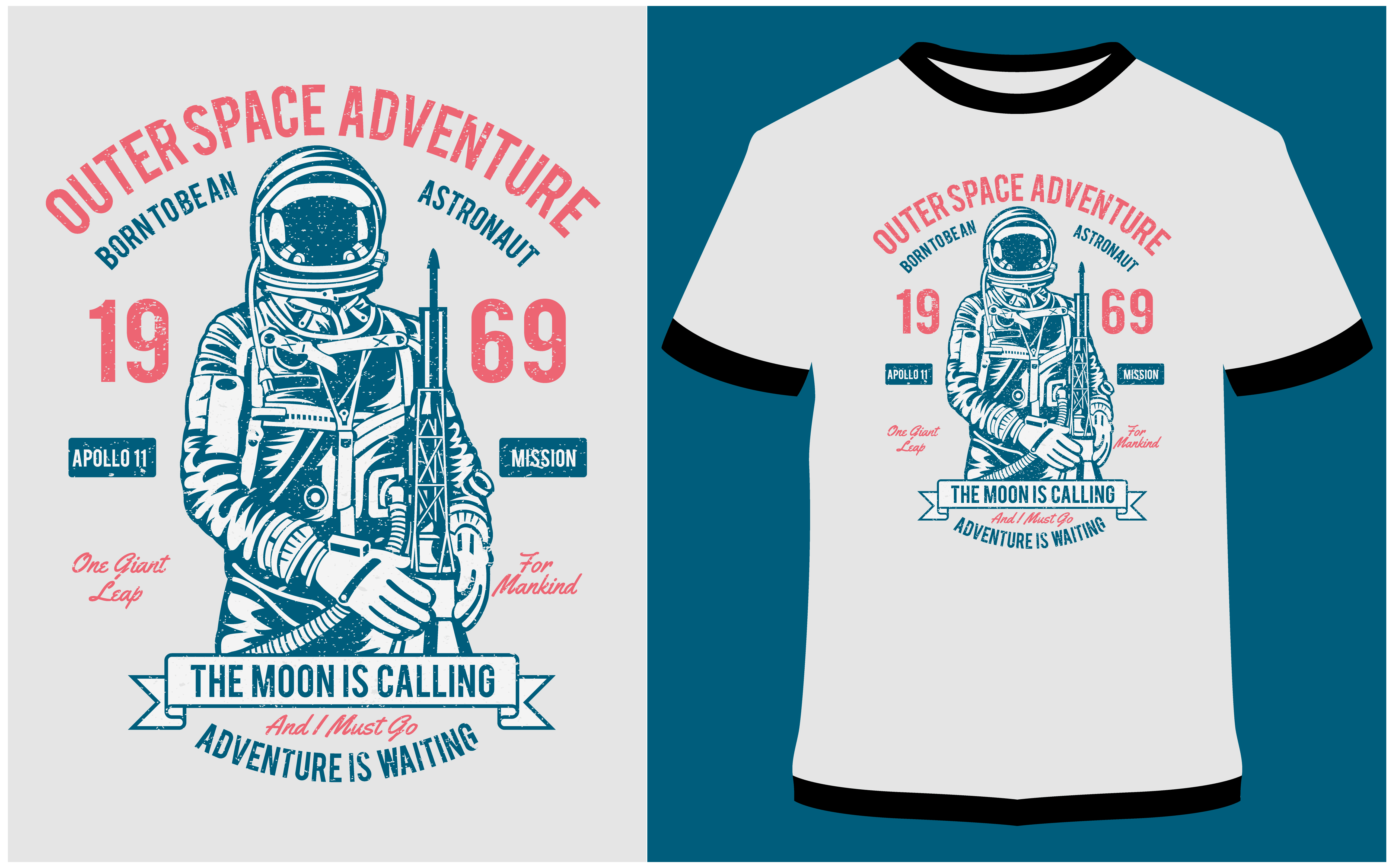 Download Free T Shirt Design Outerspace Adventure 69 Graphic By Prodesigns for Cricut Explore, Silhouette and other cutting machines.