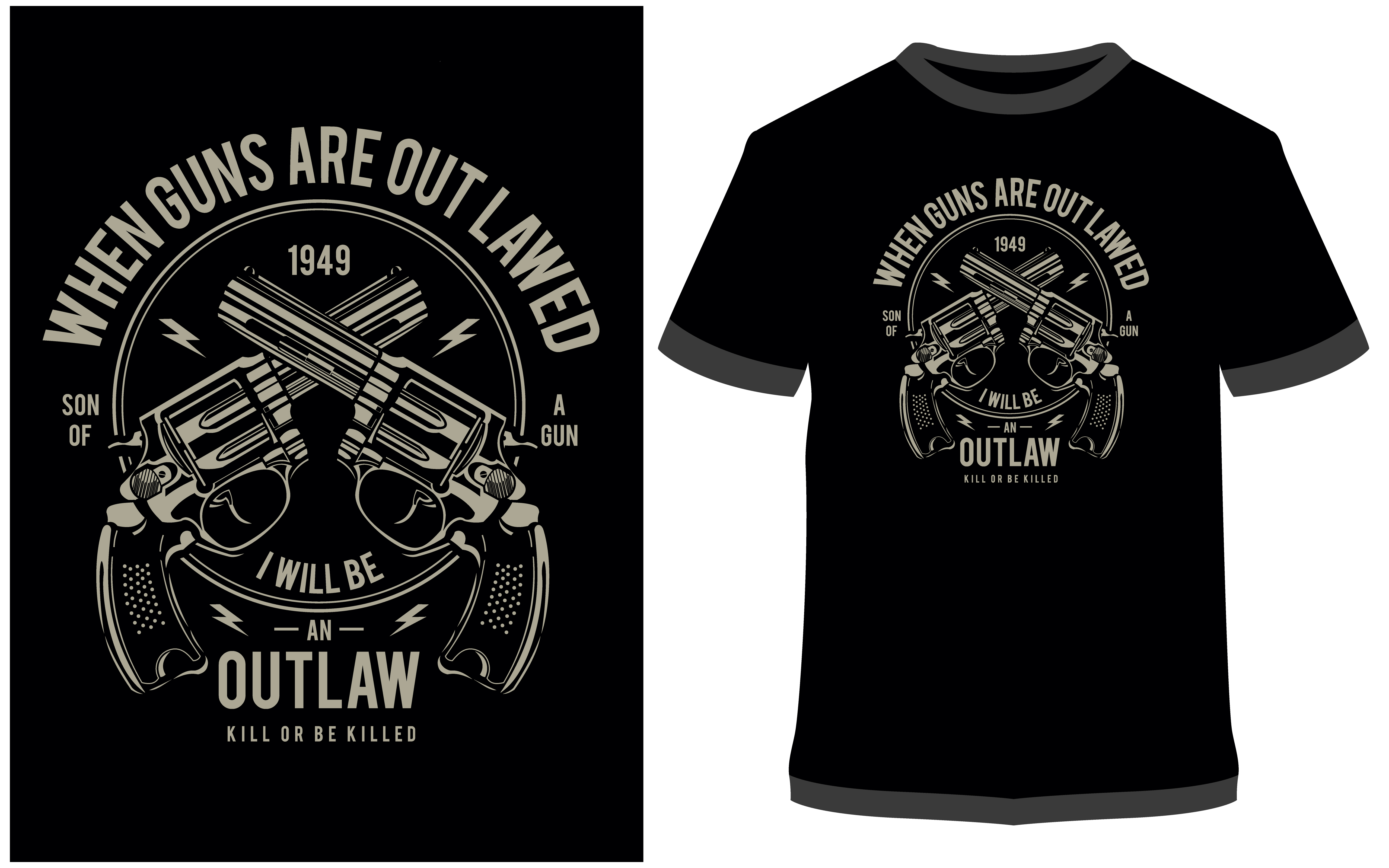 Download Free T Shirt Design Outlaw Graphic By Prodesigns Creative Fabrica for Cricut Explore, Silhouette and other cutting machines.