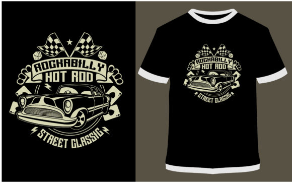 Print on Demand: T-shirt Design - Rockabilly Hotrod Graphic Print Templates By ProDesigns