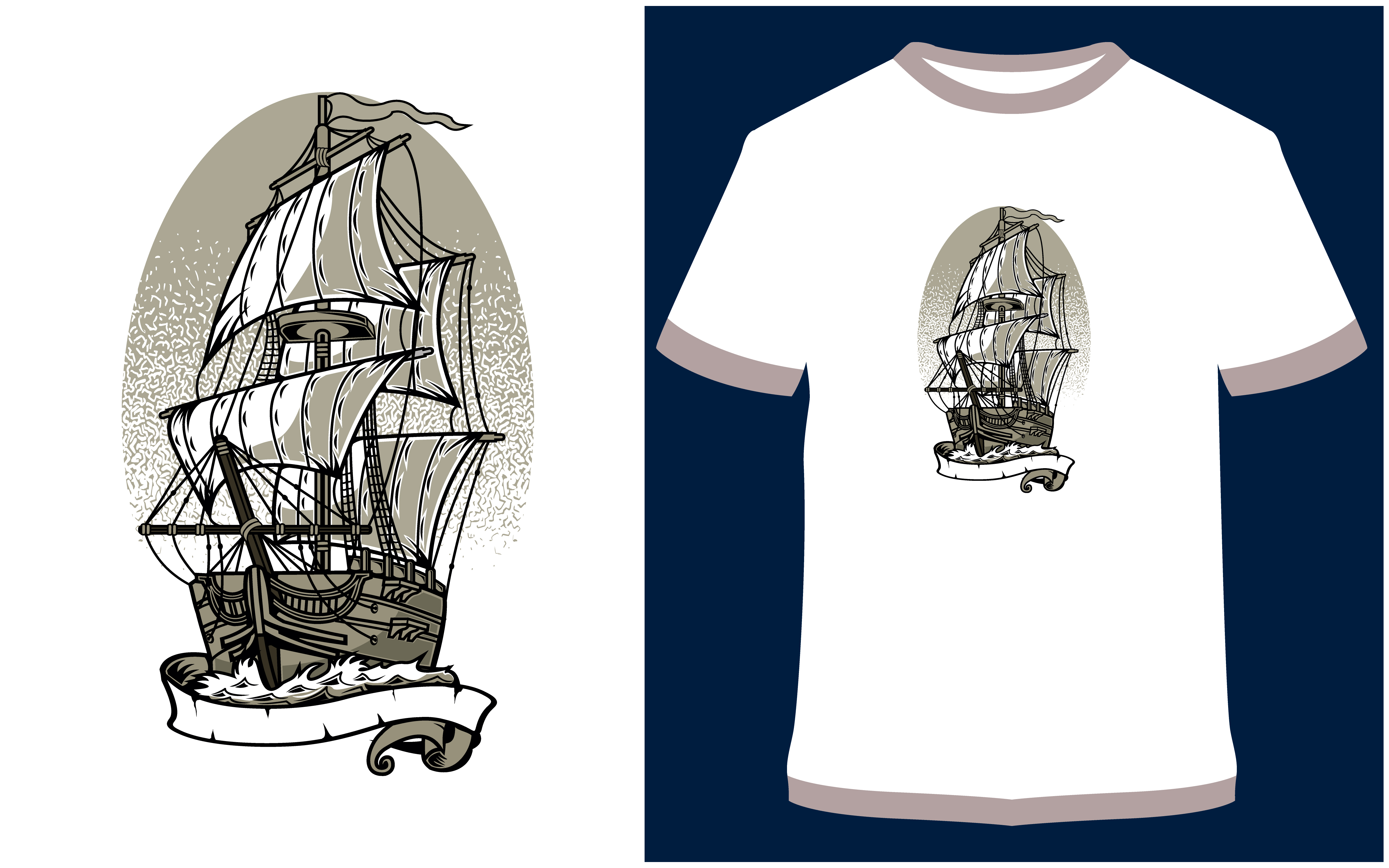 Download Free T Shirt Design Ship Graphic By Prodesigns Creative Fabrica for Cricut Explore, Silhouette and other cutting machines.