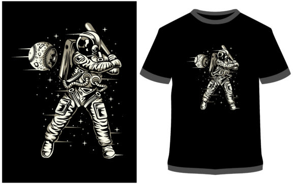 Print on Demand: T-shirt Design - Space Baseball Graphic Print Templates By ProDesigns