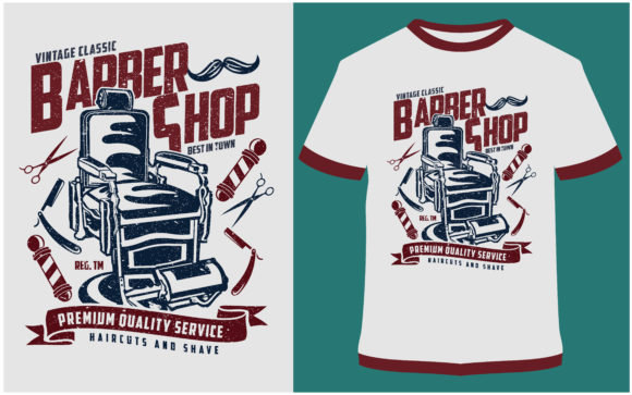 Download Free T Shirt Design Vintage Barber Shop Graphic By Prodesigns for Cricut Explore, Silhouette and other cutting machines.