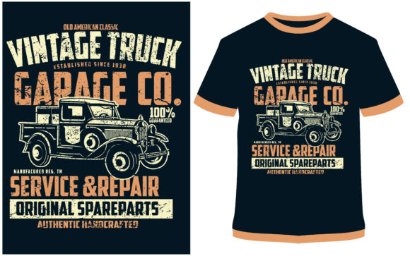 Download Free T Shirt Design Vintage Truck Graphic By Prodesigns Creative for Cricut Explore, Silhouette and other cutting machines.