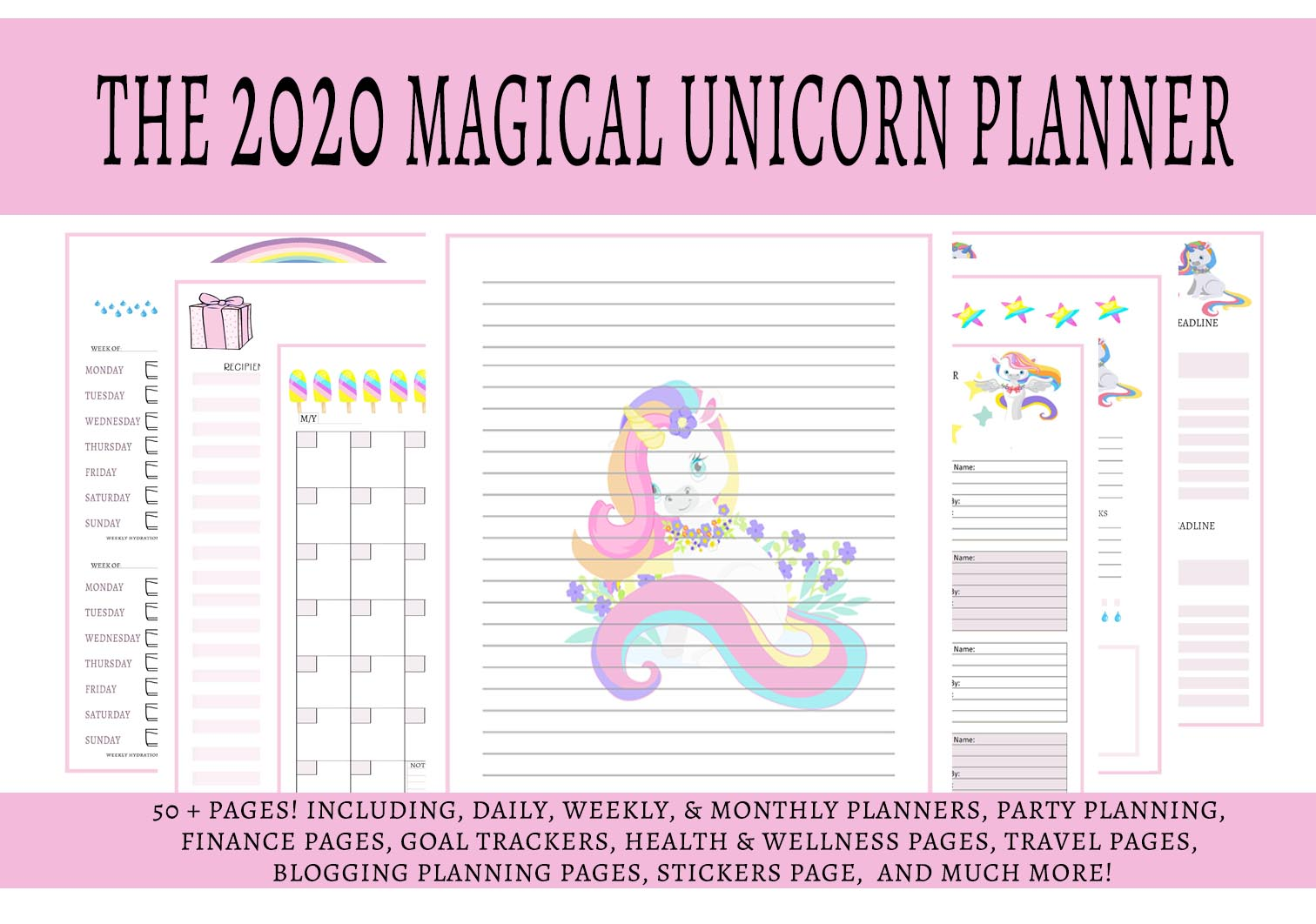 Download Free The 2020 Magical Unicorn Life Planner A4 Graphic By Capeairforce for Cricut Explore, Silhouette and other cutting machines.