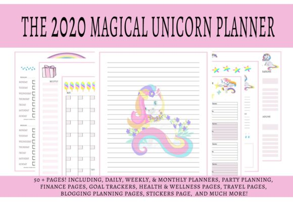 Print on Demand: The 2020 Magical Unicorn Life Planner Graphic Print Templates By CapeAirForce