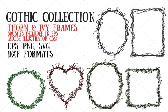 Thorn and Ivy Frames Graphic Illustrations By My Little Black Heart
