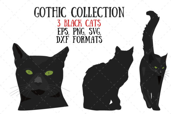 Three Black Cats Graphic Illustrations By My Little Black Heart