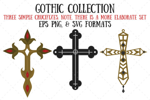 Three Simple Crucifixes Graphic Illustrations By My Little Black Heart