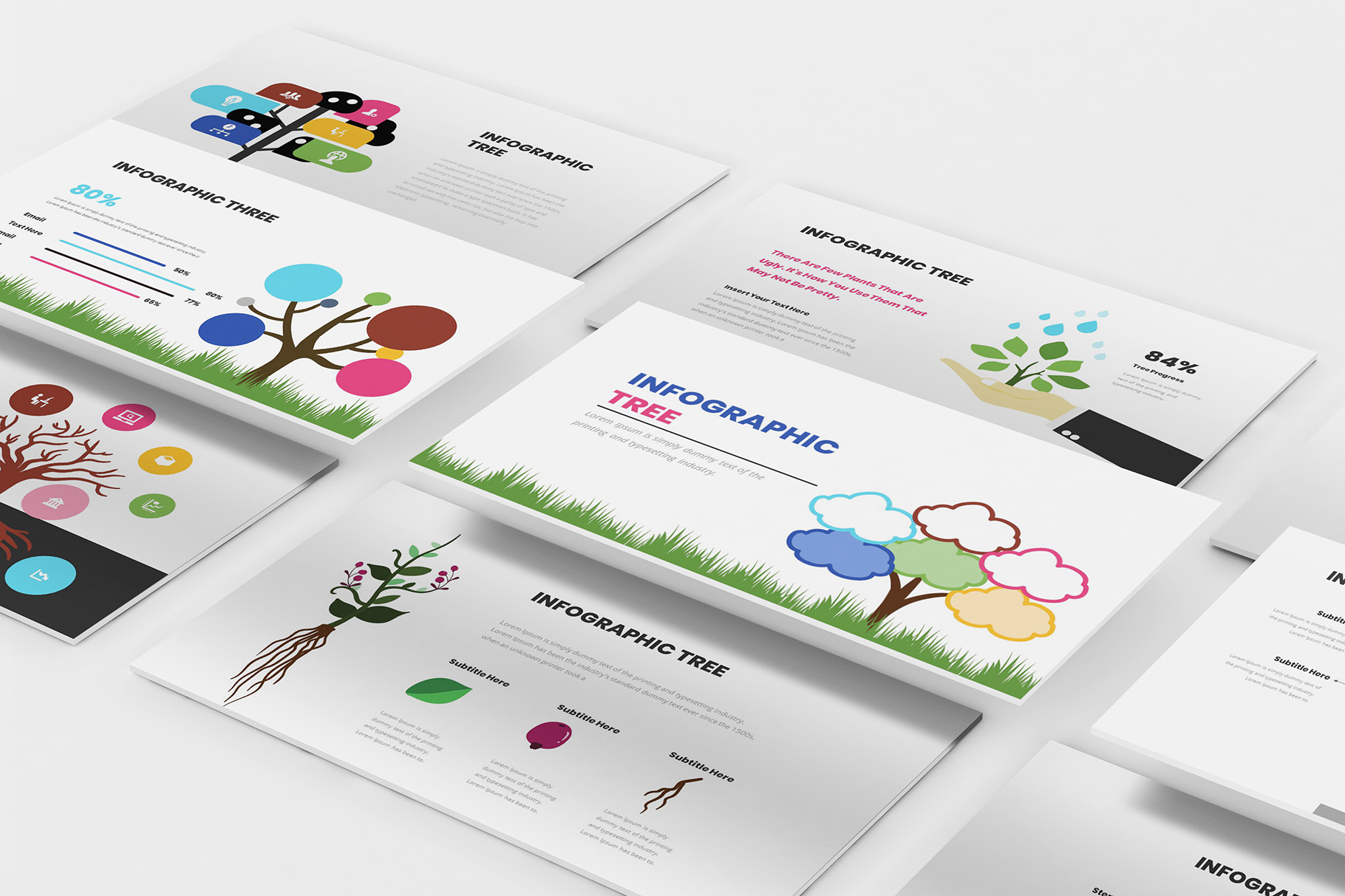Download Free Tree Infographic Powerpoint Template Graphic By Formatikastd for Cricut Explore, Silhouette and other cutting machines.