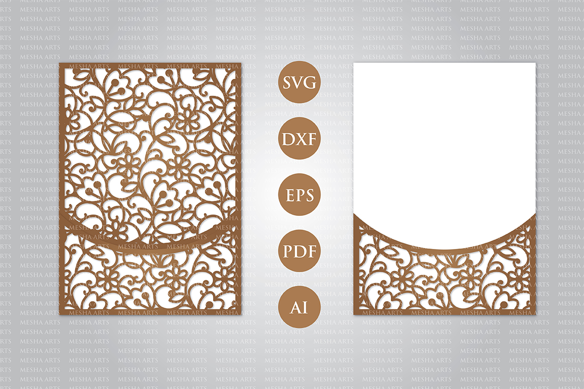 Download Free Tri Fold Wedding Invitation Template Graphic By Meshaarts for Cricut Explore, Silhouette and other cutting machines.