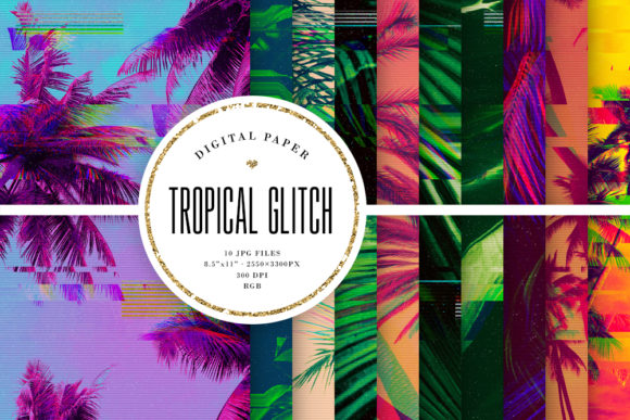 Print on Demand: Tropical Glitch Backgrounds - VHS Summer Graphic Backgrounds By Sabina Leja