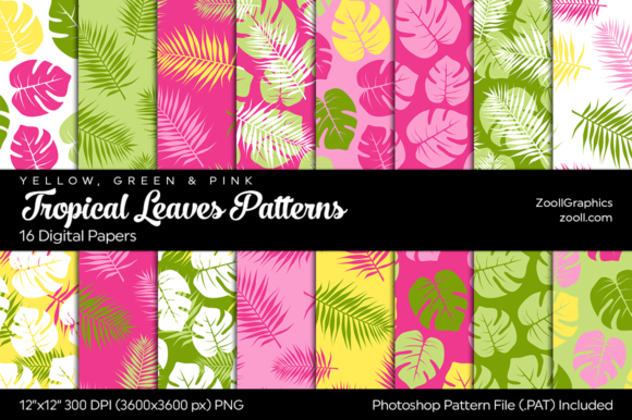 Tropical Leaves Digital Papers Graphic Patterns By ZoollGraphics