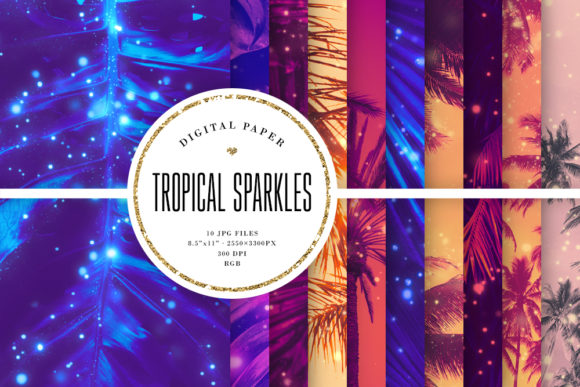 Print on Demand: Tropical Sparkles, Palm Tree Backgrounds Graphic Backgrounds By Sabina Leja