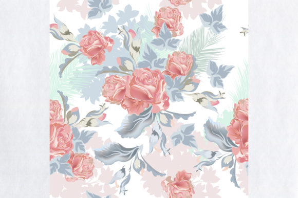 Tropical Vintage Pattern with Pink Roses Graphic Patterns By fleurartmariia