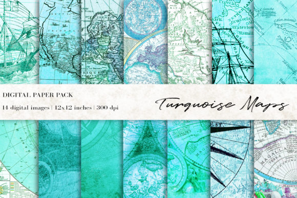 Turquoise Maps Digital Paper Graphic Textures By BonaDesigns