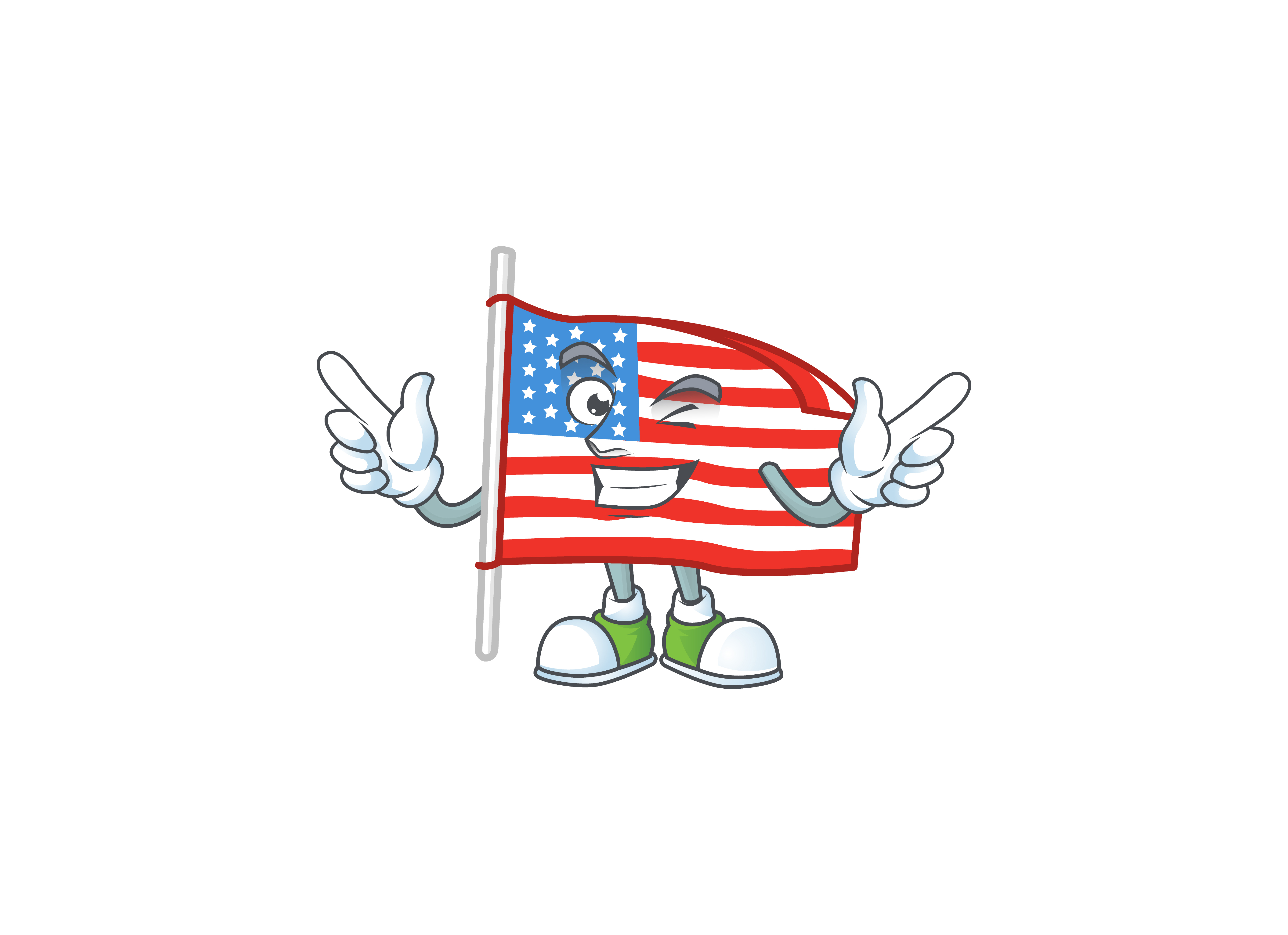 Download Free Usa Flag With Pole Cartoon Stye Graphic By Kongvector2020 for Cricut Explore, Silhouette and other cutting machines.