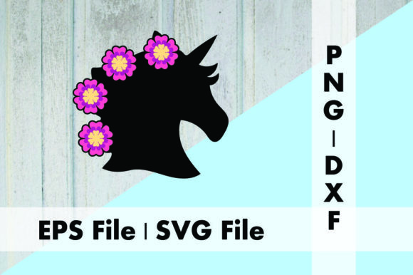 Download Free Unicorn Head Silhouette With Flowers Graphic By Deespana Studio for Cricut Explore, Silhouette and other cutting machines.