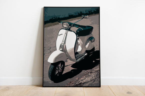 Print on Demand: Vespa Illustration Grafik Illustrationen von Silenic.co
