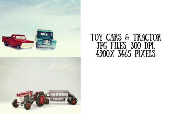 Vintage Toy Cars (pickup Truck Tractor) Graphic Arts & Entertainment By My Little Black Heart