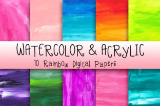 Watercolor & Acrylic Digital Papers Graphic Backgrounds By PinkPearly