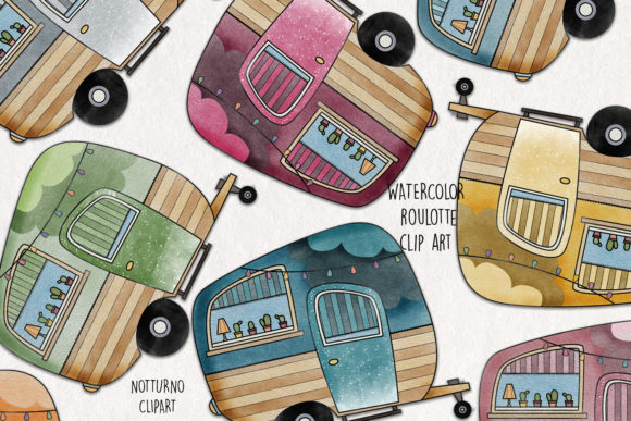 Watercolor Camper Clipart. Roulotte Graphic Illustrations By NotturnoClipArt