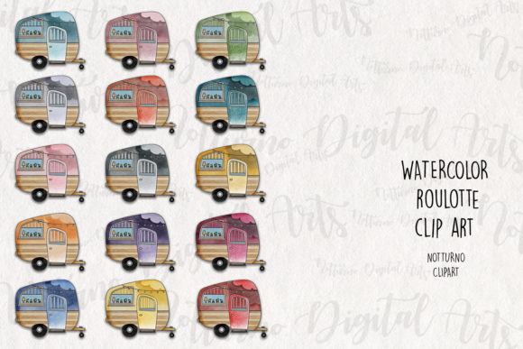 Download Free Watercolor Camper Clipart Roulotte Graphic By Notturnoclipart for Cricut Explore, Silhouette and other cutting machines.