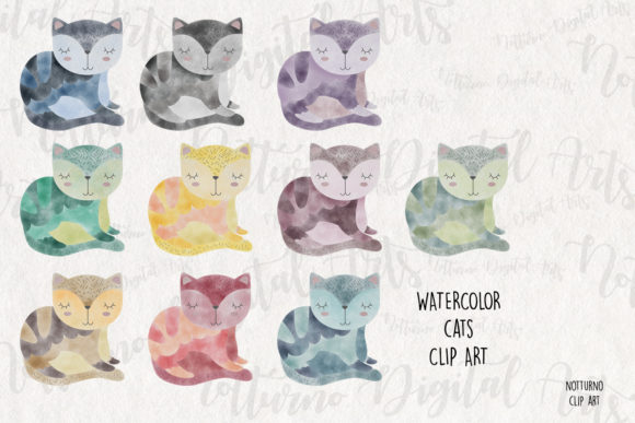 Download Free Watercolor Cat Clipart Graphic By Notturnoclipart Creative for Cricut Explore, Silhouette and other cutting machines.